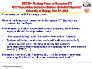 Comments on the ICT strategy paper:
