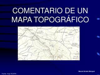 COMENTARIO DE UN MAPA TOPOGRÁFICO