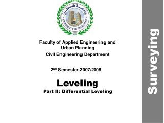 Leveling Part II: Differential Leveling