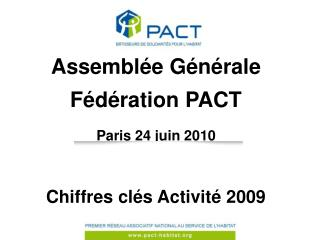 Assemblée Générale Fédération PACT Paris 24 juin 2010 Chiffres clés Activité 2009