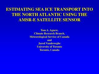 ESTIMATING SEA ICE TRANSPORT INTO THE NORTH ATLANTIC USING THE AMSR-E SATELLITE SENSOR