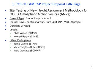 1. FY10-11 GIMPAP Project Proposal Title Page