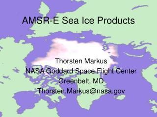 AMSR-E Sea Ice Products
