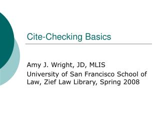 Cite-Checking Basics