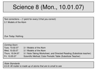 Science 8 (Mon., 10.01.07)