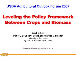 Leveling the Policy Framework Between Crops and Biomass