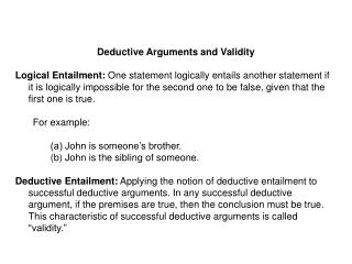 Deductive Arguments and Validity