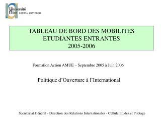 TABLEAU DE BORD DES MOBILITES ETUDIANTES ENTRANTES 2005-2006