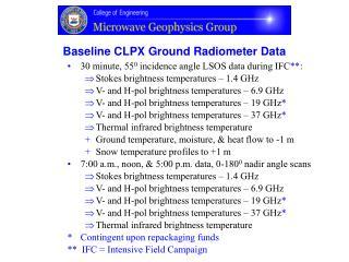 Baseline CLPX Ground Radiometer Data