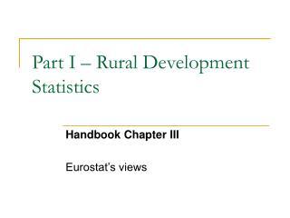 Part I   Rural Development Statistics