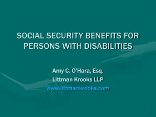SOCIAL SECURITY BENEFITS FOR PERSONS WITH DISABILITIES