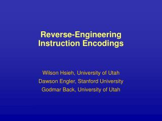 Reverse-Engineering Instruction Encodings