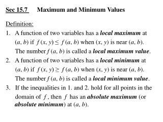 Sec 15.7       Maximum and Minimum Values