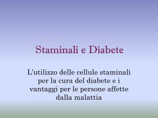 Staminali e Diabete
