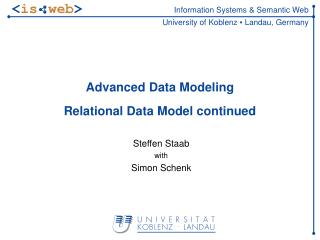 Advanced Data Modeling Relational Data Model continued