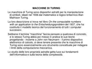 MACCHINE DI TURING