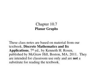 Chapter 10.7 Planar Graphs