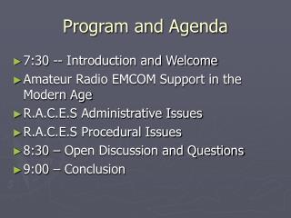 Program and Agenda