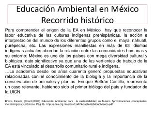 Educación Ambiental en México Recorrido histórico