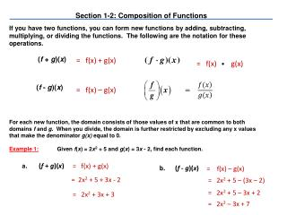 Section 1-2: Composition of Functions