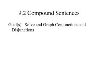 9.2 Compound Sentences
