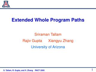 Extended Whole Program Paths
