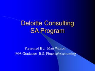 Deloitte Consulting SA Program