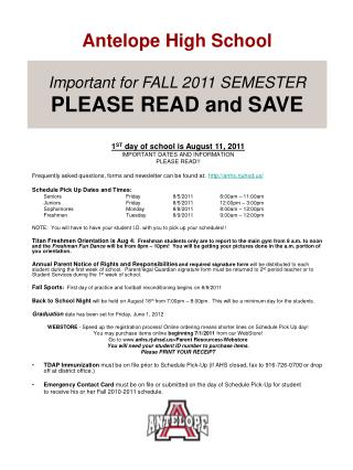 Important for FALL 2011 SEMESTER PLEASE READ and SAVE
