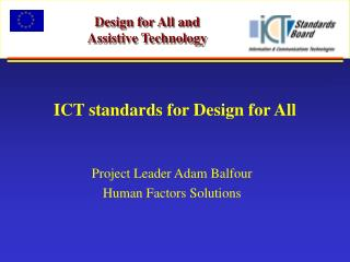 ICT standards for Design for All