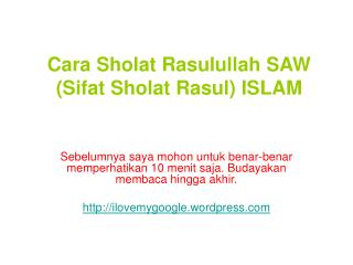 Cara Sholat Rasulullah SAW (Sifat Sholat Rasul)ISLAM