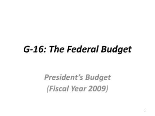 G-16: The Federal Budget