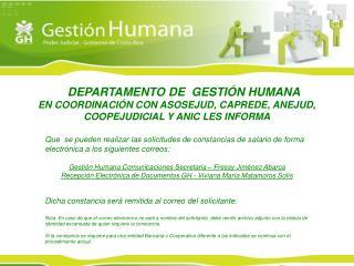 EL  DEPARTAMENTO DE  GESTIÓN HUMANA