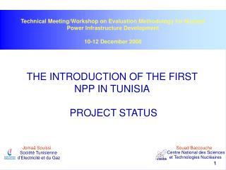 THE INTRODUCTION OF THE FIRST NPP IN TUNISIA PROJECT STATUS