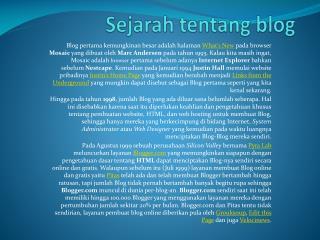Sejarah tentang  blog