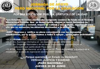 JORNADA DE APOYO PARO NACIONAL POR LA EDUCACION