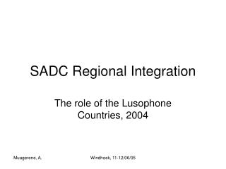 SADC Regional Integration