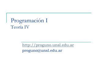 Programación I Teoría IV