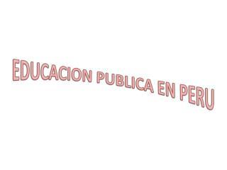 EDUCACION PUBLICA EN PERU