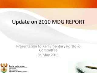 Update on 2010 MDG REPORT