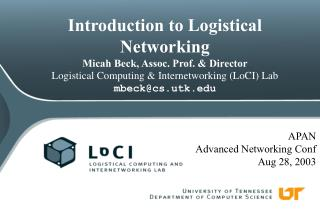 APAN Advanced Networking Conf Aug 28, 2003