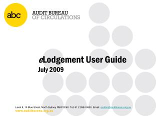 e Lodgement  User Guide July 2009