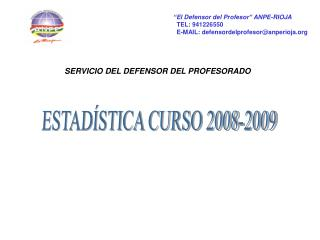 ESTAD�STICA CURSO 2008-2009
