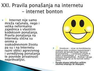 XXI. Pravila ponašanja na internetu – internet bonton