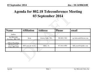 Agenda for 802.18 Teleconference Meeting 03 September 2014
