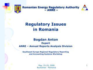 Romanian Energy Regulatory Authority  – ANRE –