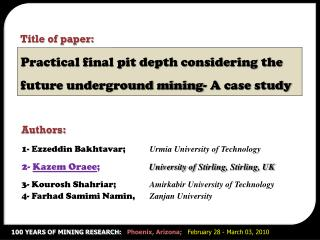Practical final pit depth considering the future underground mining- A case study