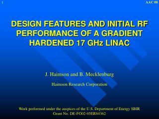 J. Haimson and B. Mecklenburg Haimson Research Corporation