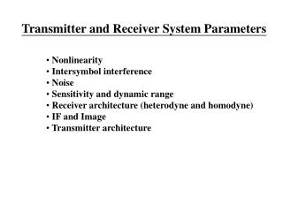 Transmitter and Receiver System Parameters