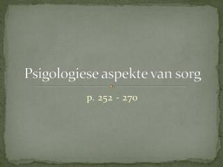 Psigologiese aspekte van sorg