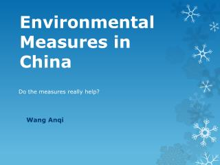 Environmental Measures in China
